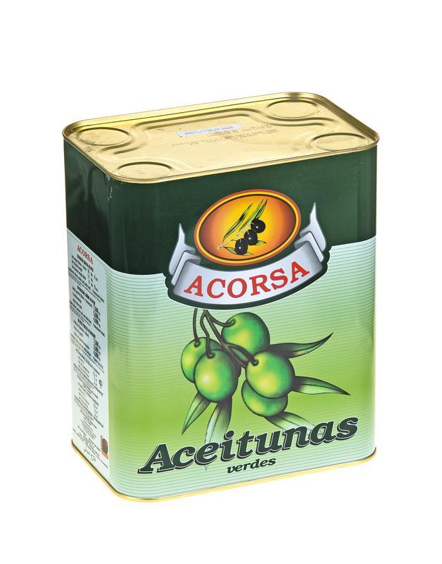 Оливки ACORSA зеленые с косточкой , 7,5 кг