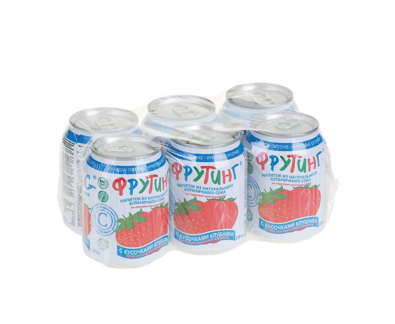 Напиток FRUITING на основе клубничного сока с кусочками клубники, 0,238 л