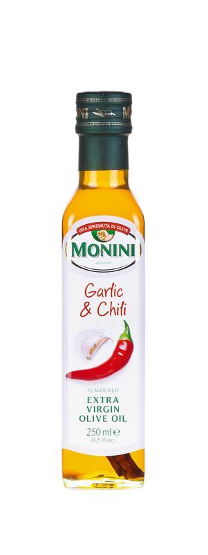 Масло оливковое MONINI Extra Virgin с чесноком и перцем, 250 мл