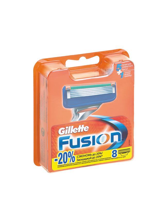 Кассеты для бритвенного станка GILLETTE Fusion в упаковке, 8шт