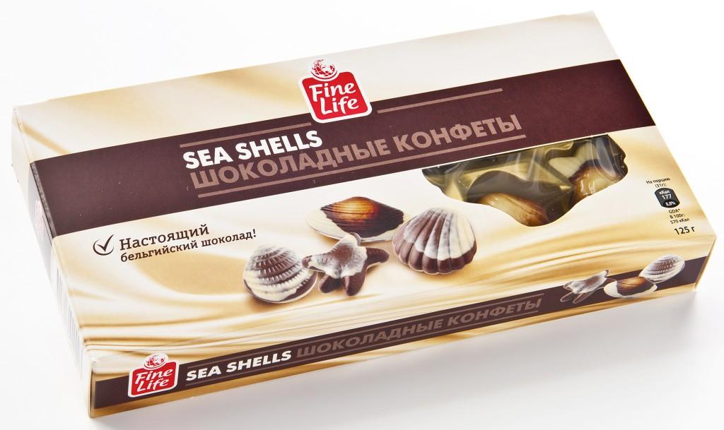 Конфеты FINE LIFE шоколадные ракушки, 125г