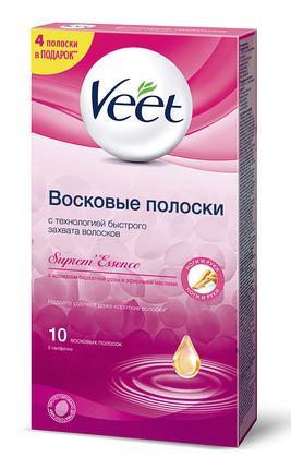 Восковые полоски VEET с розой и эфирными маслами, 10шт
