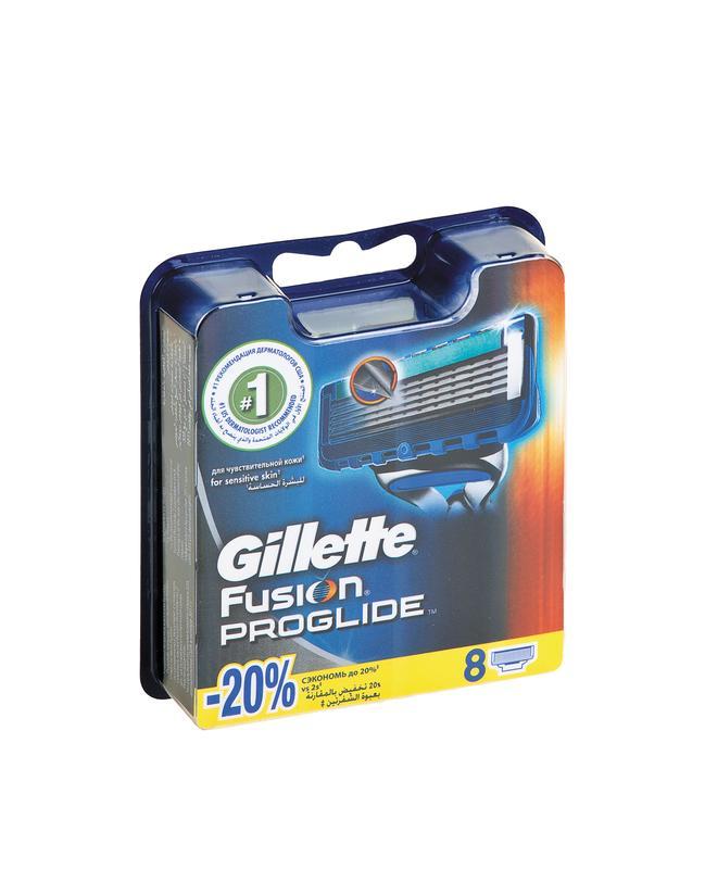 Кассеты для бритвенного станка GILLETTE Fusion ProGlide в упаковке, 8шт
