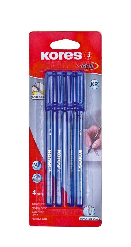 Ручка шариковая KORES К2, синяя, 0,7