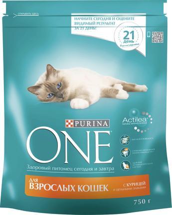 Корм для взрослых кошек PURINA ONE с курицей и цельными злаками, 750г