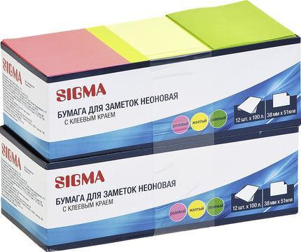 Бумажные блоки SIGMA 3 цвета 38х50 100л, 2х12шт