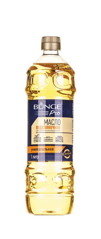 Масло подсолнечное BUNGE PRO рафинированное, 1л