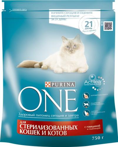 Корм для стерилизованных кошек PURINA ONE с говядиной и пшеницей, 750г