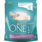 Корм PURINA ONE для кошек с чувствительным пищеварением с индейкой и рисом, 750г
