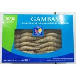 Креветки GAMBAS 20/30 с головой свежемороженые, 800г