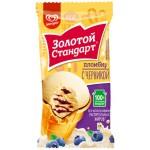 Мороженое пломбир ЗОЛОТОЙ СТАНДАРТ с черникой вафельный стаканчик, 100г