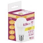 Лампа LED груша OSRAM A60 6,8W E27 теплый свет