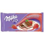 Шоколад молочный MILKA с двухслойной начинкой клубника со сливками, 90г