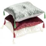 Подушка бархатная с кисточками декоративная, 45х45см