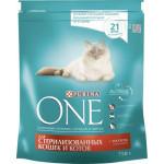 Корм для стерилизованных кошек сухой PURINA ONE с Лососем и Пшеницей, 750г
