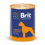 Консервы для собак BRIT говядина и печень, 850г