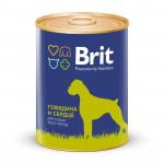 Консервы для собак всех пород BRIT говядина и сердце, 850г