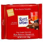 Шоколад RITTER SPORT молочный с орехом, изюмом и ямайским ромом, 100г