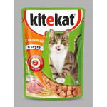 Корм для кошек влажный KITEKAT с индейкой в соусе пауч, 85г