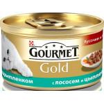 Консервы для кошек GOURMET Gold мусс с лососем и цыпленком, 85 г