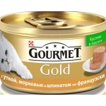 Консервы для кошек GOURMET Gold кусочки в паштете с уткой, морковью и шпинатом по-французски, 85 г
