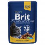 Корм для кошек BRIT с курицей и индейкой, 100г