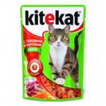 Корм для кошек влажный KITEKAT с говядиной и морковью в желе пауч, 85г