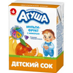 Сок АГУША Мультифрукт с мякотью для детей с 6 месяцев, 200 мл