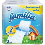 Туалетная бумага FAMILIA Радуга двухслойная 8 рулонов