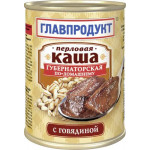 Каша перловая ГЛАВПРОДУКТ Губернаторская по-домашнему с говядиной, 340 г