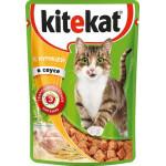 Корм для кошек влажный KITEKAT с курицей в соусе пауч, 85г