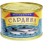 Сардина ВЕСТРЫБПРОМ Атлантическая натуральная с добавлением масла, 250г