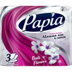 Туалетная бумага PAPIA 3 слоя, 4 рулона
