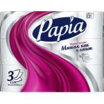 Туалетная бумага PAPIA белая трехслойная, 12 рулонов