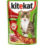 Корм для кошек влажный KITEKAT с говядиной в желе пауч, 85г