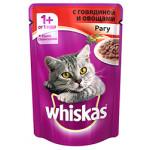 Корм для кошек WHISKAS Рагу с говядиной и овощами, 85г