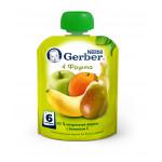 Фруктовое пюре GERBER 4 фрукта, 90 г
