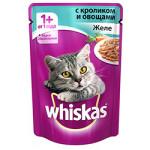 Корм для кошек WHISKAS желе с кроликом с овощами, 85г