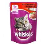 Корм для кошек WHISKAS Мясной паштет из говядины с печенью, 85г