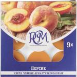Свечи чайные РСМ Персик ароматизированные в упаковке, 9шт