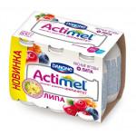 Функциональный напиток ACTIMEL лесные ягоды/липа в упаковке, 6х100г