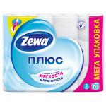 Туалетная бумага ZEWA Плюс Белая двухслойная в упаковке, 12рулонов