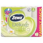 Туалетная бумага ZEWA Deluxe 3-слойная с ромашкой, 12 рулонов