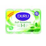 Мыло DURU экстракты зелёного чая + увлажняющий крем, 4*90 г