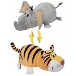 Игрушка мягкая 1TOY Вывернушка Тигр-Слон, 35см
