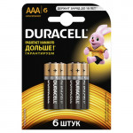 Батарейки DURACELL Basic AAA в упаковке, 6 шт