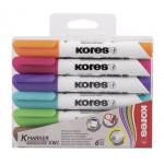 KORES маркеры для досок 6 цветов 6 штук 3мм