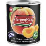 Персики консервированные GREEN RAY Греческие половинки в сиропе, 850г