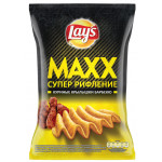 Чипсы LAYS Maxx супер рифление куриные крылышки барбекю, 145 г