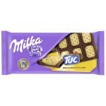 Шоколад молочный MILKA с соленым крекером Tuc, 87г